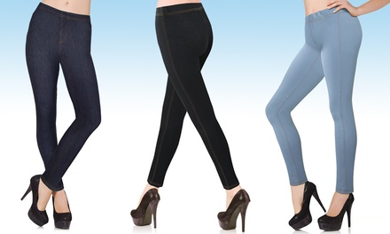 One £4.99 or Two Pairs £9.98 of Women's Jeggings in Choice of Colour