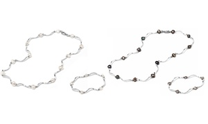 Genuine Freshwater Pearl Bracelet And Necklace Set