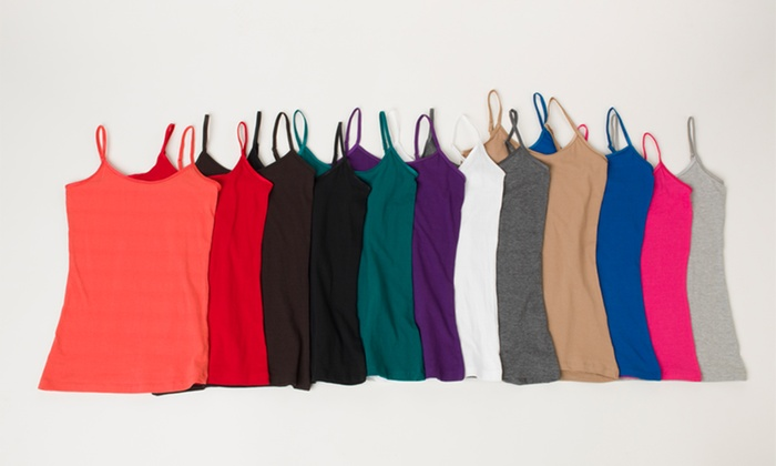 12-Pack of Women's Cotton-Lycra Camis: 12-Pack of Women's Cotton-Lycra Camis