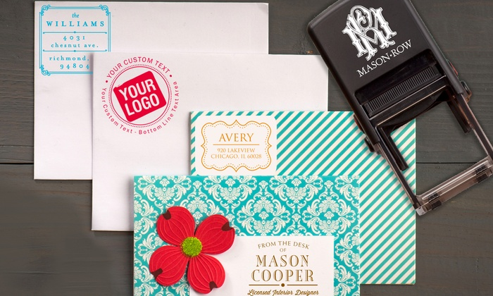 """Mason Row: 1.5"""" Custom Stamp or a Trio Stamper with Three Custom Stamps from Mason Row (Up to 56% Off)"""