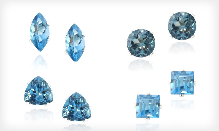 London Blue Topaz Stud Earrings : London Blue Topaz Stud Earrings Set in Sterling Silver (Up to 84% Off). Four Options Available. Free Shipping.