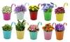 Daniel James Products Set of 10 Metal Hanging Flower Pots
