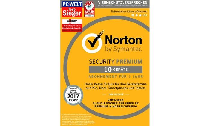 mysoftware media GmbH: Norton Security Premium3.0 mit Schutz für bis zu 10 Geräte (33% sparen*)