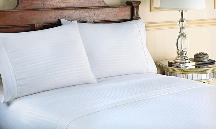 Hotel New York Dobby Stripe Microfibre Sheet Set: Hotel New York Microfibre Embossed Dobby Stripe Sheet Sets (Up to 64% Off). Multiple Colours Available.