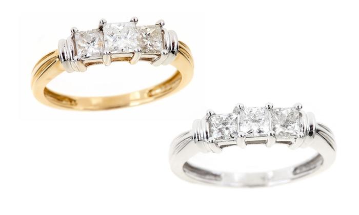 1.25 CT.TW. 3-Stone Diamond Ring in 14-Karat Gold: 1.25-Carat, 3-Stone Diamond Ring in 14-Karat White or Yellow Gold. Free Shipping and Returns.