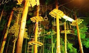 Kletterwald Schwindelfrei: Nachtklettern für 1, 2 oder 4 Personen im Kletterpark Schwindelfrei (bis zu 54% sparen*)
