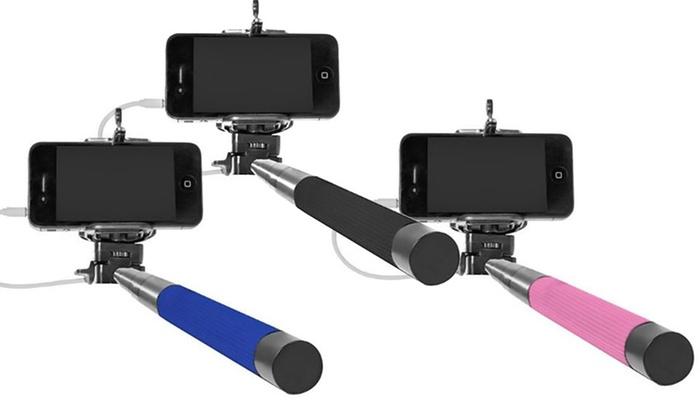 selfie stick with remote button groupon. Black Bedroom Furniture Sets. Home Design Ideas