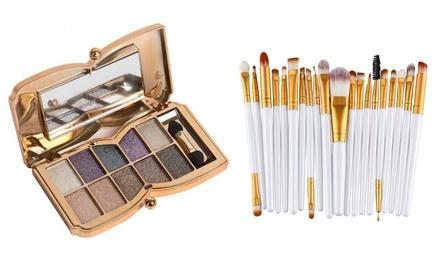 Fino a 3 kit make-up composto da 10 ombretti gliterrati e opzionalmente da 20 pennelli