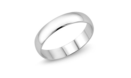 Unisex Mirrored Polished Wedding Band in Sterling Silver