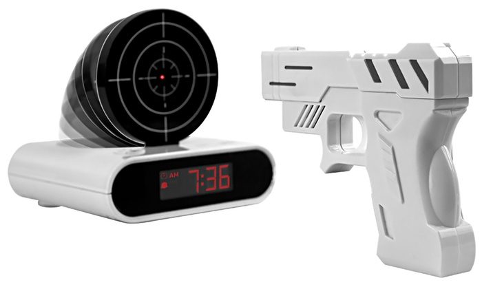 Gun and Target Recordable Alarm Clock