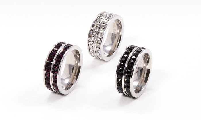 Set of Three Austrian Crystal Hoop Earrings or Rings: Set of Three Austrian Crystal Hoop Earrings or Rings (Up to 79% Off). Multiple Styles Available. Free Returns.