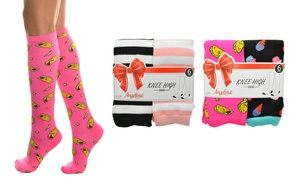 Angelina Women's Novelty Knee-High Socks (6-Pack)