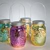 Set of 4 Hanging Lighted Mercury Glass Jars