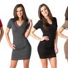 Slim-Fit Bodycon V-neck Mini Dress