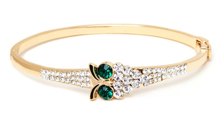 18K Gold Plated Owl Bangle with Swarovski Elements