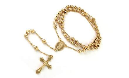 18K Gold-Plated Rosary Necklace. Free Returns.