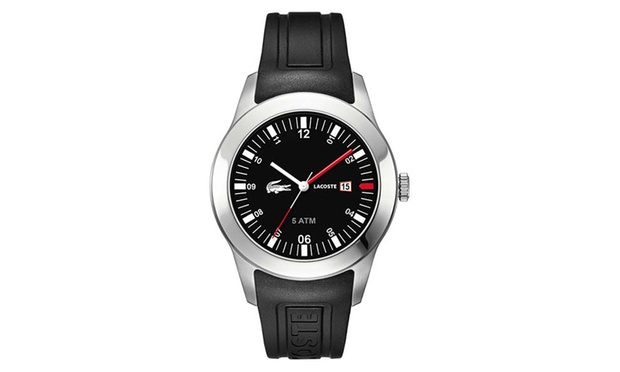 lacoste watch groupon goods £62 99 for men s lacoste black dial and black pu strap watch 2010628 51% off
