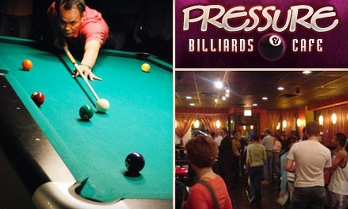 Pressure Billiards and Cafe - Edgewater: $15 for Billiards, Café Eats, and Drinks at Pressure Billiards and Cafe ($30 Value)