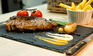 Thirsty Flame: 12oz Steak Each and a Bottle of Wine to Share for Two or Four People at Thirsty Flame (Up to 59% Off)