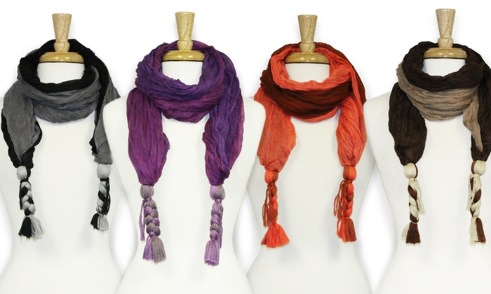 Feria Two-Tone Braided Scarf: Feria Two-Tone Braided Scarf. Four Styles Available. Free Returns.