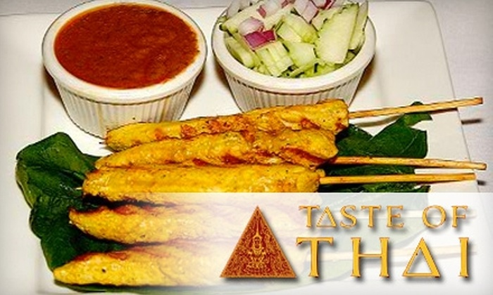 Taste of Thai - Multiple Locations: $12 for $25 Worth of Thai Cuisine and Drinks at Taste of Thai. Choose Between Two Locations.
