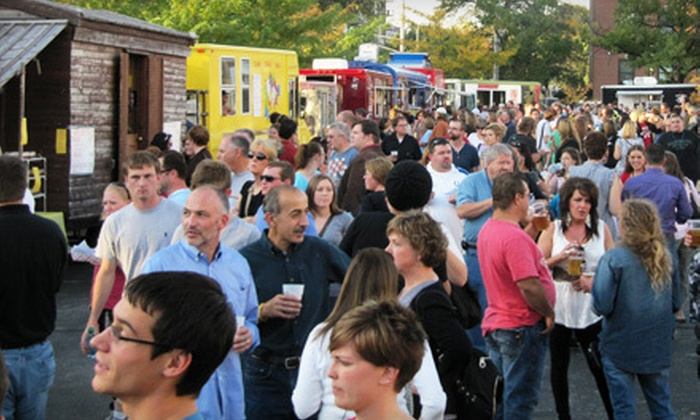 Leinenkugel Presents: First Friday Food Truck Festival - Murat Theatre at Old National Centre: $10 for First Friday Food Truck Festival for Four in Parking Lot of Old National Centre on May 4 (Up to $32 Value)