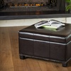 Bonded-Leather Dark-Brown Ottoman with Removable Storage Tray