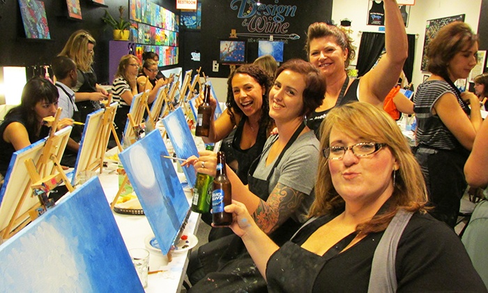 Painting class with wine design wine groupon for Groupon wine and paint