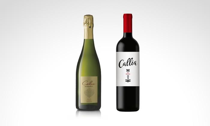 pick up - Múltiples sucursales: Desde $549 en vez de $719 por 6 botellas de espumante extra brut o vinos malbec Callia para retirar en sucursal
