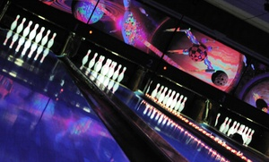 Manor Lanes: Bowling Package for Two or Four with Games, Shoe Rental, and Drinks or Pizza at Manor Lanes (Up to 46% Off)