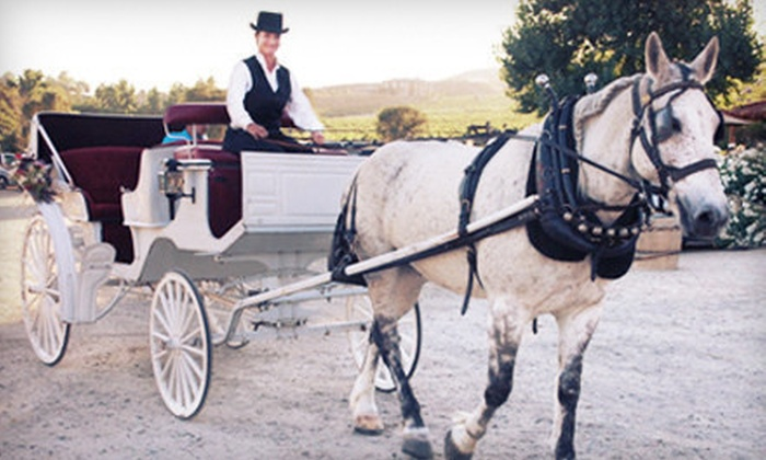 Temecula Carriage Company - Inland Empire: $99 for a Winery Tour for Two in Horse-Drawn Carriage with Bottle of Wine from Temecula Carriage Company ($220 Value)