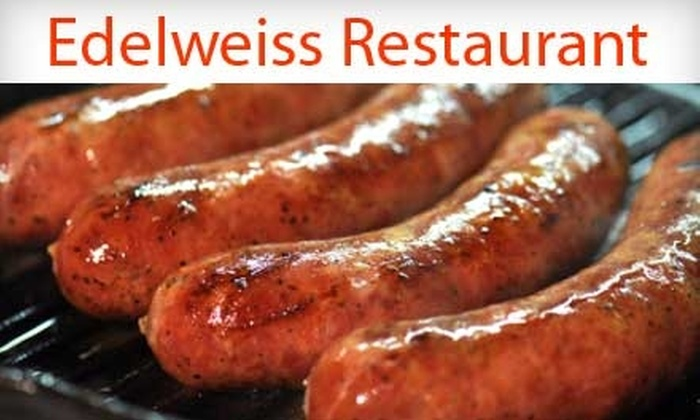 Edelweiss Restaurant - Hill Valley Estates: $25 for $50 Worth of German Fare and Drinks Plus a One-Year Family Membership to The German-American Klub at Edelweiss Restaurant