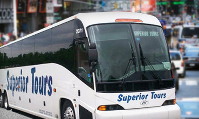 Superior Tours - Multiple Locations: $31 for a Round-Trip Charter Bus Ride to NYC from Superior Tours ($63 Value)