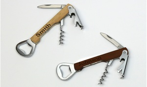 Monogram Online: 1 or 2 Personalized Wooden Can Opener, Bottle Opener, and Corkscrew Tools from Monogram Online (Up to 83% Off)
