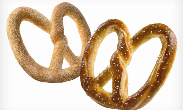 Auntie Anne's Pretzels - Multiple Locations: Pretzel and Coffee for £2.40 at Auntie Anne's Pretzels (50% Off)