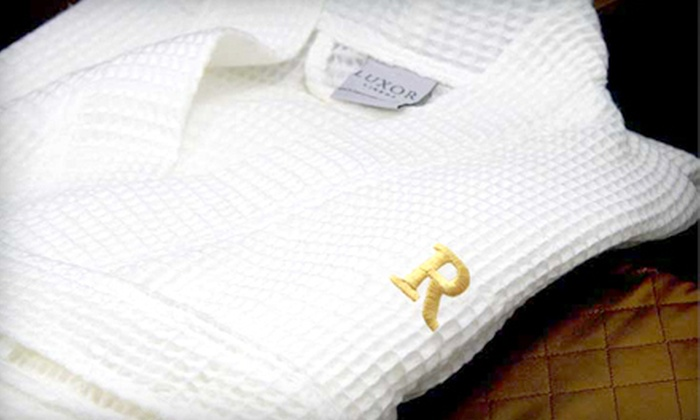 Luxor Linens Egyptian Cotton Monogrammed Spa Robe: $39 for a Luxor Linens Signature Egyptian-Cotton Waffle Spa Robe with Monogram in Black, Burgundy, or Gold by Luxor Linens ($199 Value)