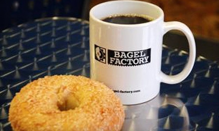 Bagel Factory - Hill Country Village: $12 for 13 Bagels, Two Tubs of Cream Cheese, and Four Large Beverages at Bagel Factory (Up to $26.05 Value)