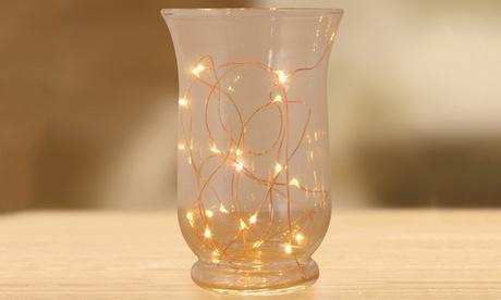1 o 2 cadenas de 20 luces LED de alambre de cobre