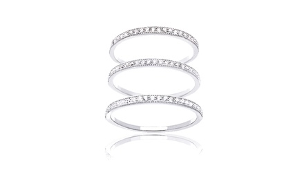 3-Piece Band Ring Set with Swarovski Elements Crystals