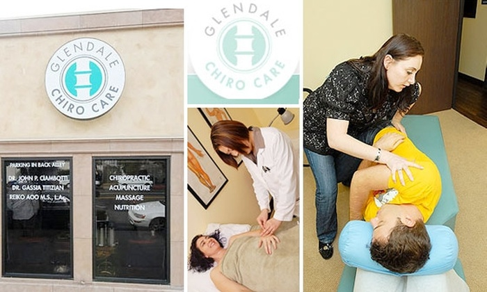 Glendale Chiro Care - Riverside Rancho: $50 for Chiropractic Treatment and 1 Hour Massage at Glendale Chiro Care