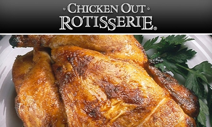 Chicken Out Rotisserie - Multiple Locations: $14 for an Original Rotisserie-Chicken Feast for Four from Chicken Out Rotisserie ($28.99 value)