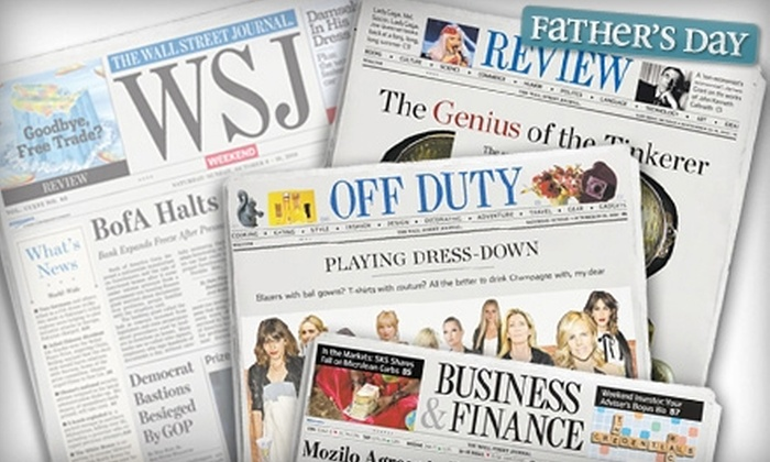 """""""The Wall Street Journal"""" - Saukville: $20 for 20 Weeks of """"WSJ Weekend"""" ($40 Value)"""