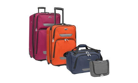 groupon daily deal - US Traveler Westport 4-Piece Luggage Set in Gray, Navy, Orange, or Plum. Free Returns.