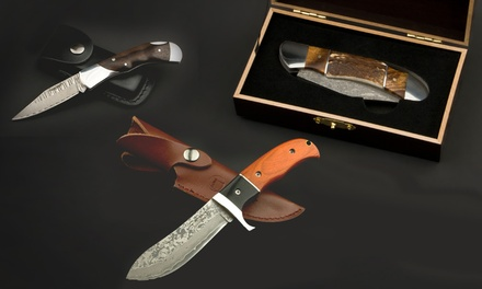 Izumi Ichiago Taschenmesser aus japanischem Damaststahl in diversen Ausführungen mit Geschenkschatulle oder Lederetui (Koln)