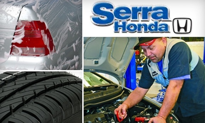 Serra Honda - Tuxedo: $24 for an Oil Change, Tire Rotation, and Car Wash at Serra Honda ($49.90 Value)
