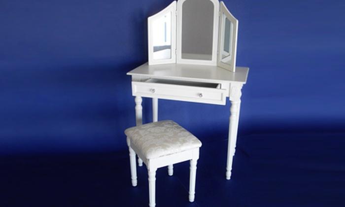 toilette con specchio e sgabello | groupon shopping - Toilette Provenzale Con Specchio E Sgabello