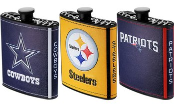 Pro Specialties Group NFL Plastic Hip Flask with Logo Wrap