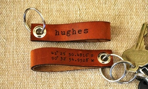 LilyDeal: One, Two, or Four Personalized Leather Latitude-Longitude Key Chains from LilyDeal (Up to 71% Off)