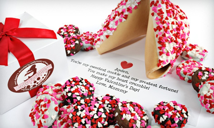Lady Fortunes Valentine's Day Cookies: 12 Chocolate-Covered Valentine Oreos or One Heart-Sprinkles Giant Fortune Cookie from Lady Fortunes (Up to 44% Off)