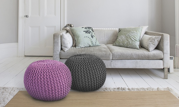HandKnitted Ottoman Pouf Groupon Awesome Yellow Knit Pouf